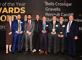 Vincent Tourette, managing director at Groupe Renault UK (centre, in red tie), Dacia UK brand director Louise O'Sullivan (far left), Groupe Renault UK sales director Nick Payne (far right) Groupe Renault corporate design director, Laurens Van Den Acker (centre), with the manufacturers' 'dealers of the year'