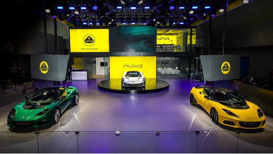 The Lotus display at China's Guangzhou Auto Show hints at the new Lotus corporate identity and includes the revised logo