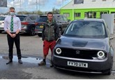 Guy Martin purchases Honda e at DM Keith Honda branch in Grimsby