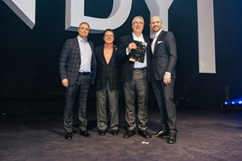 Hall of Fame award (left to right): Hendy Group's chief executive, Paul Hendy; chairman Simon Gulliford; award winner Andy Smith and host Matt Dawson