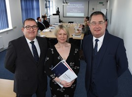 Hendy manager training (from left): Mark Busby, Danielle Swain from Complete Consulting and Graham Tarrant head of Hendy Academy
