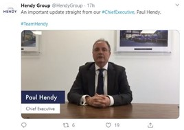 Hendy Group chief executive, Paul Hendy, takes to Twitter to reassure customers about the business's efforts to mitigate the impact of the coronavirus outbreak