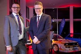 Stefan Wyatt, head of network development at Audi UK, and Vertu Motors chief executive, Robert Forrester