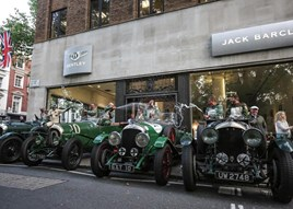 Vintage Bentleys gather outside HR Owen's Jack Barclay Bentley showroom