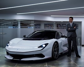 HR Owen chief executive, Ken Choo, with the Pininfarina Battista EV hypercar
