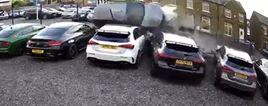 Collision at Enkae Prestige car dealership at Crosland Moor, Huddersfield