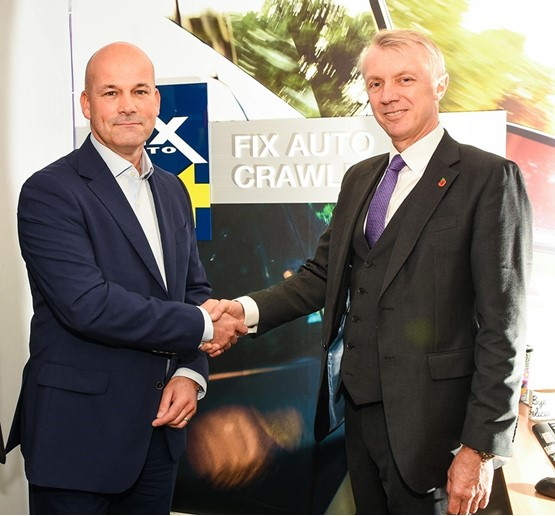 Ian Pugh (left) of Fix Auto UK, with Nick Caunter, managing director of the Crawley Down Group.