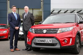 Donnelly Group site director Paul Compton and Stephen Robinson, national sales manager at Suzuki GB