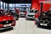 Inside an MG Motor UK car dealership's showroom