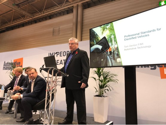 IMI technical trainer and consultant, Tom Denton, at Automotive Management Live 2019