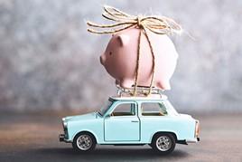 PIggy bank on a car