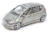 car in bubblewrap