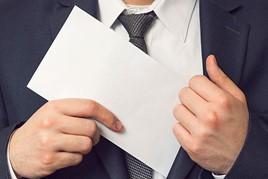 envelope in pocket