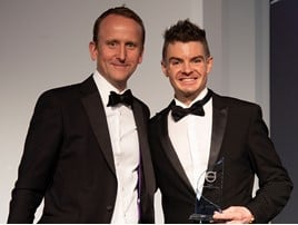 Jamie Cleland (right) accepts the award for Cleland of the Borders from Volvo Car UK managing director Kristian Elvefors