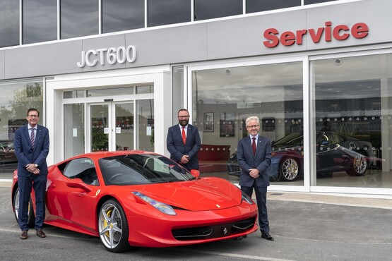 JCT600's MD, Richard Hargraves, brand director Tom Armstrong and chief excutive John Tordoff and the group's new £1m Ferrari aftersales centre in Newcastle