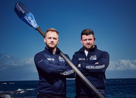 Talisker Whisky Atlantic Challenge competitors Chris Nicholl (left) and James Tordoff, manager of Vauxhall Bradford