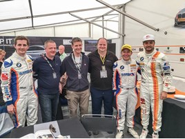JCT600 customers (left to right) Michael Godridge, Russell Cook and Darren Apps with Sam Tordoff (far left) and his GardX team mates, Rob Collard and Jack Goff