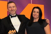 Jeff Aynsley, general manager,  Infiniti Newcastle, collects the award from Le Etta Pearce,  group sales director, Auto Trader, right