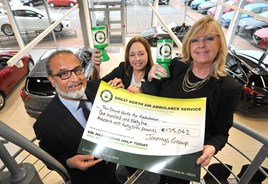 Nas Khan, managing director of Jennings Motor Group and his PA Bev Stephenson(centre) with Mandy Drake, head of fundraising at GNAAS