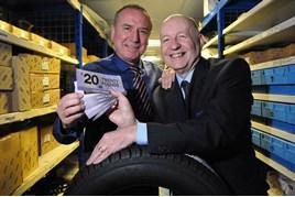 Jennings Group's Kevin Gibbon (left) recognises Allan Etherington's long service