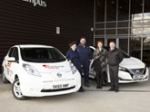 Bright spark (from left) Jessica O'Leary, Noble Scholarship winner; Bob Murphy, Edinburgh College Electric Vehicle administrator; Sheena Stone, Edinburgh College Development Trust manager; Jim Rowan, EV specialist at Alex F Noble & Son Nissan.