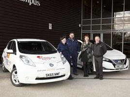 Bright spark (from left) Jessica O'Leary, Noble Scholarship winner; Bob Murphy, Edinburgh College Electric Vehicle administrator; Sheena Stone, Edinburgh College Development Trust manager; Jim Rowan, EV specialist at Alex F Noble & Son Nissan.