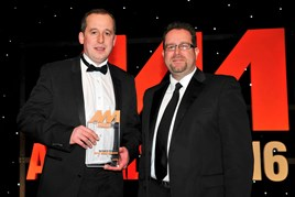 John Greenwood, sales manager, Perrys Vauxhall Doncaster (left), accepts the award for Best Used Car Performance from Martin Peters, sales director, Autoclenz