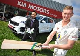 Durham and England cricketer, Keaton Jennings with Sohail Khan, director of Jennings Motor Group at the company's Kia dealership in Washington
