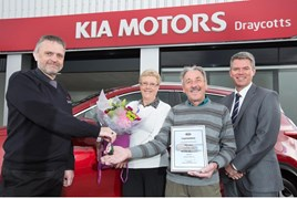 Left to right: Jon Beech, from Draycotts; Gwen Beaver, Peter Holland and Kia Motors (UK) CEO Paul Philpott
