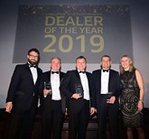 Vincent Tourette (left), managing director of Groupe Renault UK, and Louise O'Sullivan (right), network operations director, with Matt Huke-Jenner, dealer principal at Mitchells, Lowestoft, Darren Bowen, general manager at RRG Swansea and Kevin Mackie, from Mackie Motors Brechin