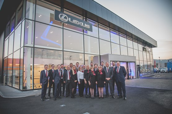 Winning team: the staff from Motorline's Lexus Cardiff dealership (pictured before COVID-19)