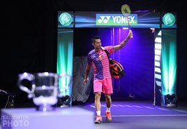 Lin Dan in action at the All England Open Badminton Championships