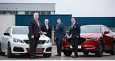 Snows Group's newly acquired dealership Portfield in Chichester, West Sussex (from left): John Lindsay (Peugeot Sales Manager), Graham Simpson (Group Aftersales Manager), Neil McCue (Group Board Director) and John Harkness (Mazda Sales Manager)