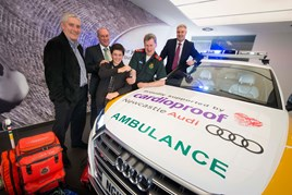 Charitable response (left to right): Ian Humpish managing director at marketing agency The Roundhouse; Cardioproof founder Professor Michael Norton; Joseph McMinn; Paul Aitken-Fell, lead consultant paramedic; and Paul Liddell, operations director at Lookers' Audi Division