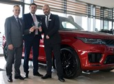Charles Hust Land Rover celebrates (left to right): Andrew West, Jaguar Land Rover customer service director; Andrew Gilmore, Charles Hurst Group aftersales director; and Glenn McCartney, Charles Hurst Jaguar Land Rover aftersales manager