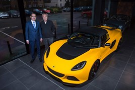 Lotus CEO Jean-Marc Gales (left) with Hexagon chairman Paul Michaels at the opening of Hexagon's new Lotus showroom