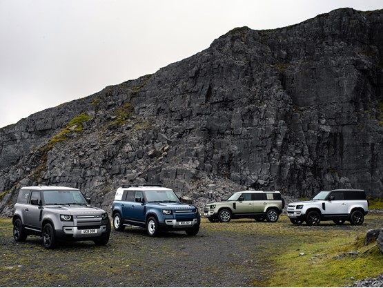 The new Land Rover Defender family, including 90, 110 and Hard Top commercial vehicle derivatives