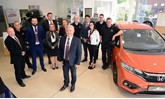 Mark Flynn, general manager of Vertu Honda Durham, with the team.