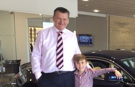 Cambria CEO Mark Lavery with DMD sufferer Jack Johnson
