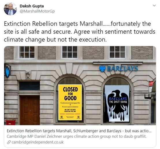 Marshall Motor Holdings chief executive, Daksh Gupta, Gupta took to Twitter hours to reveal that Marshall's Cambridge Jaguar Land Rover (JLR) dealership had been one of the businesses targeted in Extinction Rebellion's April 30 action