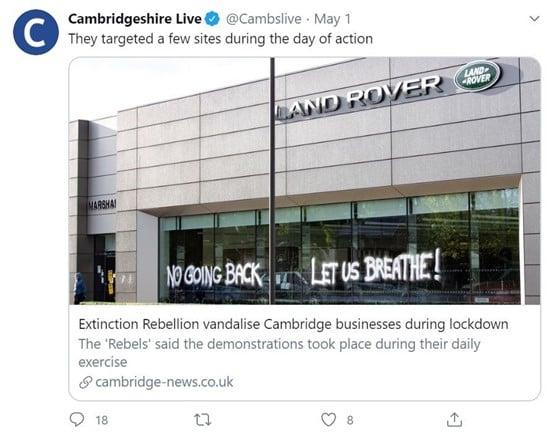 Cambridgshire Live's coverage on the Extinction Rebellion protest at Marshall Motor Holding's Cambridge Jaguar Land Rover (JLR) dealership