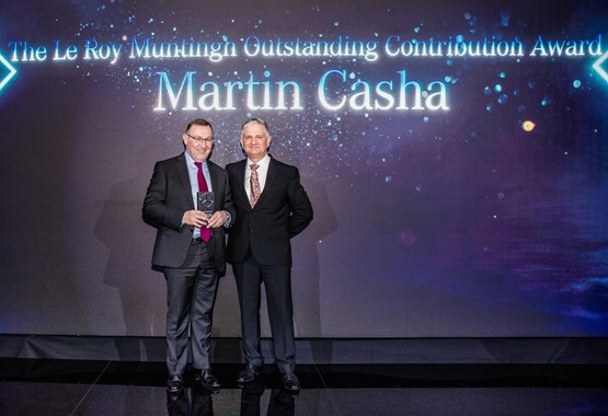 Pendragon chief operating officer, Martin Casha, receives the Le Roy Muntingh Outstanding Contribution Award