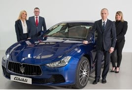 Maserati GB corporate team (left to right): Louise Kelly, Howard Dalziel, Peter Denton, Alexandra Cooper