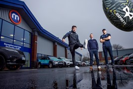 Osprey's players Matthew Aubrey and Cory Allen team up with Motorpoint's Andrew Davies to kick off the company's arrival in Swansea