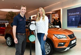 Seat UK director Richard Harrison opens Seat White City with Jodie Kidd