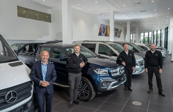 LSH Auto UK's Mercedes-Benz Vans Erdington team: Manager – Van James Cubitt (left) pictured with James Cubitt, Joe Heath, Andy Williams and Paul Clements