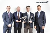 Awards success (from left): David Gilbert, managing director, Europe, McLaren Automotive; Mike Flewitt, chief executive of McLaren Automotive; Lee Martis, McLaren Glasgow; Jolyon Nash, executive director global sales and marketing, McLaren Automotive