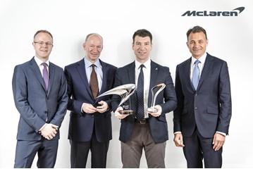 Awards success (from left): David Gilbert, managing director, Europe, McLaren Automotive; Mike Flewitt, chief executive of McLaren Automotive; Lee Martis, McLaren Glasgow; Jolyon Nash, executive director global sales and marketing, McLaren Automotive