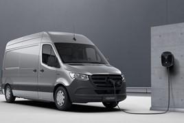 A Mercedes Benz eSprinter electric van EV