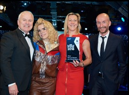 Mervyn Stewart Ltd. collecting award from Paloma Faith and director of Skoda UK, Rod McLeod